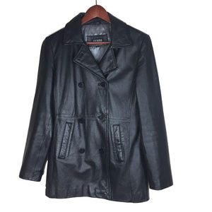 GUESS M double breasted blazer leather jacket